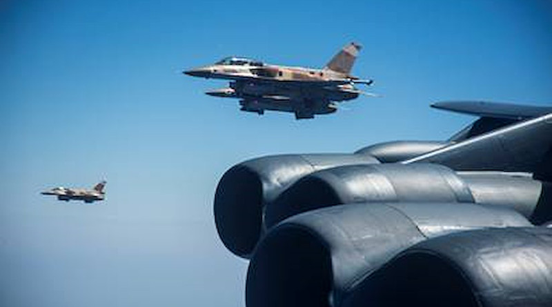 Moroccan F-16s fly alongside a US B-52H Stratofortress. Photo Credit: AFRICOM