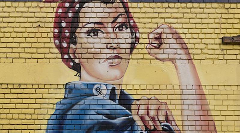 Feminism Painting Wall Bricks Rosie The Riveter Symbol Icon