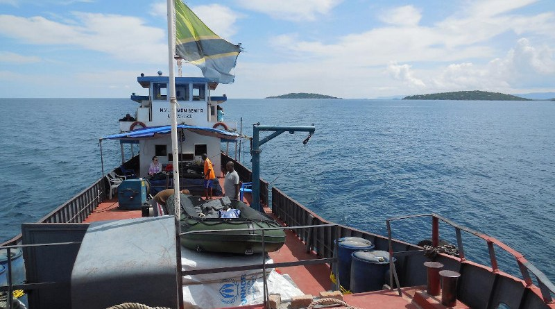 The research team spent 12 days on Lake Tanganyika collecting core samples from the lake's floor. They chartered a Congolese merchant vessel, seen here, and adapted it for their research project. CREDIT: Michael McGlue, University of Kentucky