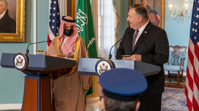 Secretary of State Michael R. Pompeo and Saudi Foreign Minister Prince Faisal bin Farhan Al Saud address reporters at the U.S. Department of State in Washington, D.C., on October 14, 2020. [State Department photo by Ron Przysucha/ Public Domain]
