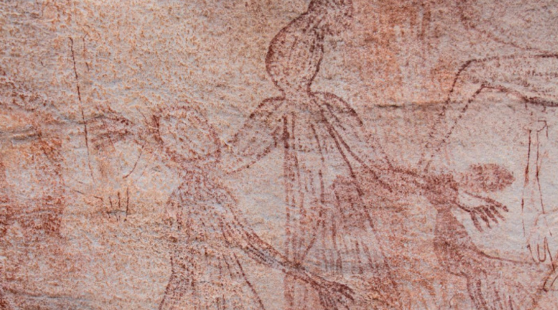 Detail of large male Maliwawa human figures from an Awunbarna site. The largest male is 1.15 metres wide by 1.95 metres high CREDIT: P. Tac¸on