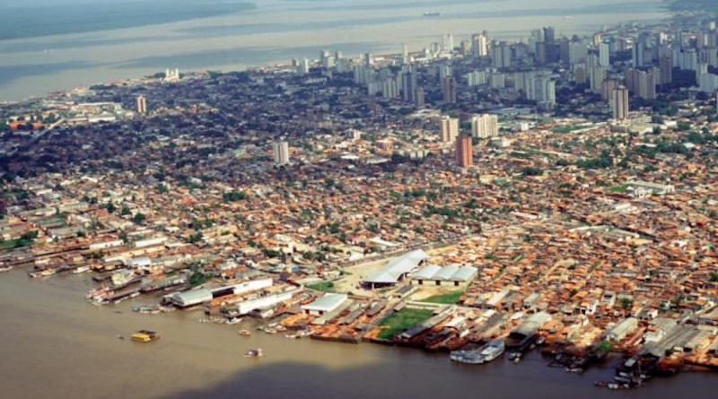 An aerial view of Belem, Brazil, a city situated along the Amazon Delta in northeastern Brazil. A new study by IU researchers found that climate change places millions of people living near river deltas at risk of flooding from tropical storms. CREDIT: Photo by Eduardo Brondizio, Indiana University