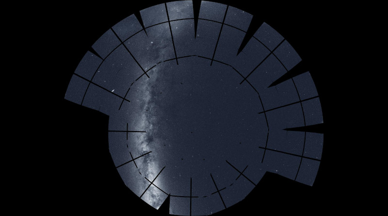 This mosaic of the northern sky incorporates 208 images taken by NASA's Transiting Exoplanet Survey Satellite (TESS) during its second year of science operations, completed in July 2020. The mission split the northern sky into 13 sectors, each of which was imaged for nearly a month by the spacecraft's four cameras. Among the many notable celestial objects visible: the glowing arc and obscuring dust clouds of the Milky Way (left), our home galaxy seen edgewise; the Andromeda galaxy (oval, center left), our nearest large galactic neighbor located 2.5 million light-years away; and the North America Nebula (lower left), part of a stellar factory complex 1,700 light-years away. The prominent dark lines are gaps between the detectors in TESS's camera system. CREDIT: NASA/MIT/TESS and Ethan Kruse (USRA)