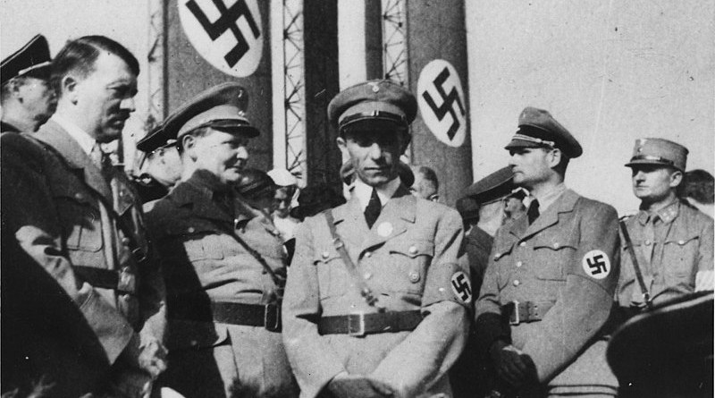 Nazi Germany government. From left to right: Adolf Hitler, Hermann Göring, Joseph Goebbels and Rudolf Hess, 1934. Photo Credit: U.S. National Archives and Records Administration, Wikipedia Commons