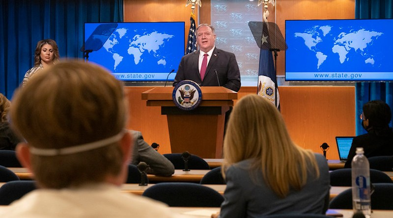 Secretary of State Michael R. Pompeo delivers remarks to the media at the U.S. Department of State in Washington, D.C.. [State Department photo by Freddie Everett]