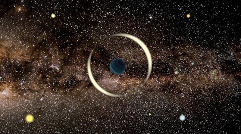 An artist's impression of a gravitational microlensing event by a free-floating planet. Credit: Jan Skowron / Astronomical Observatory, University of Warsaw