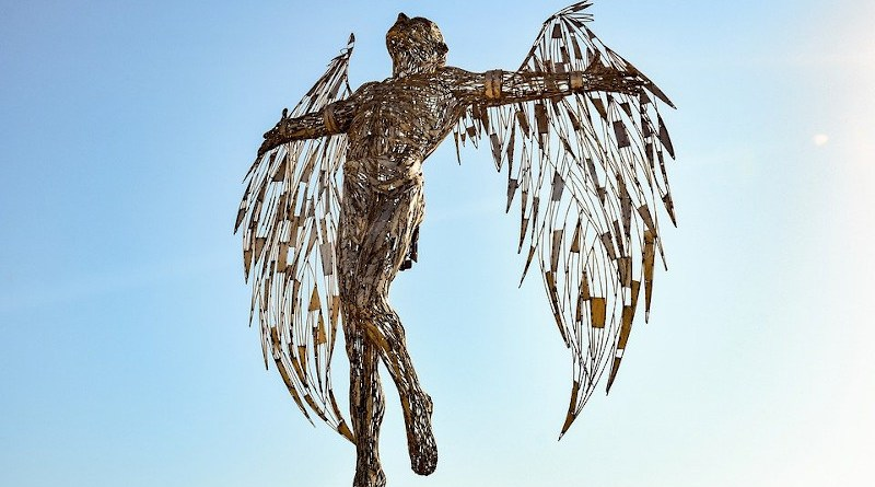 Angel Statue Sculpture Wings Metallic Icarus Art