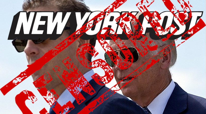 Montage of Hunter Biden and former US vice-president Joe Biden and New York Post logo