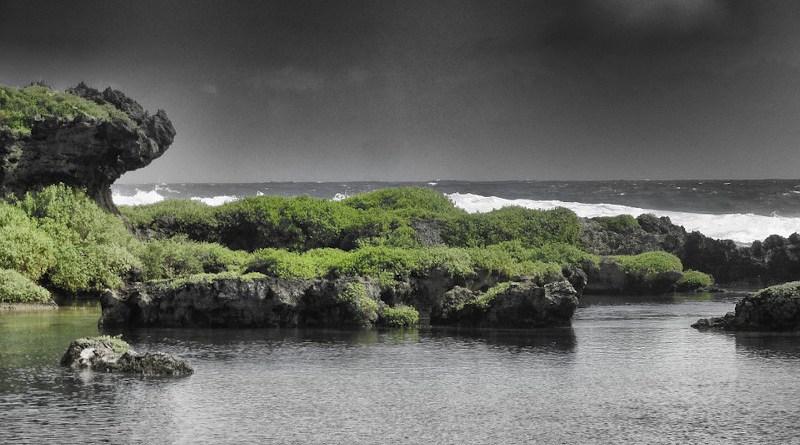 Guam Sea Ocean Water Rocks Rocky Sky Clouds