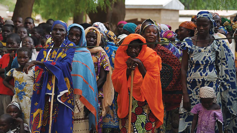 People displaced by Boko Haram violence wait for medical screenings and education during a humanitarian assistance mission led by Cameroonian soldiers and funded through the USAFRICOM Humanitarian and Civic Assistance Program. (U.S. Africa Command)
