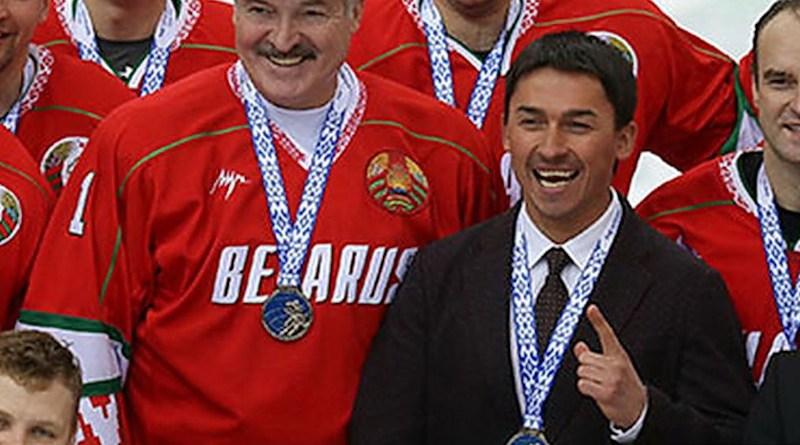 Alyaksandr Lukashenka (left) and Dzmitry Baskau attend an amateur hockey tournament in 2017. Photo Credit: Belarus government