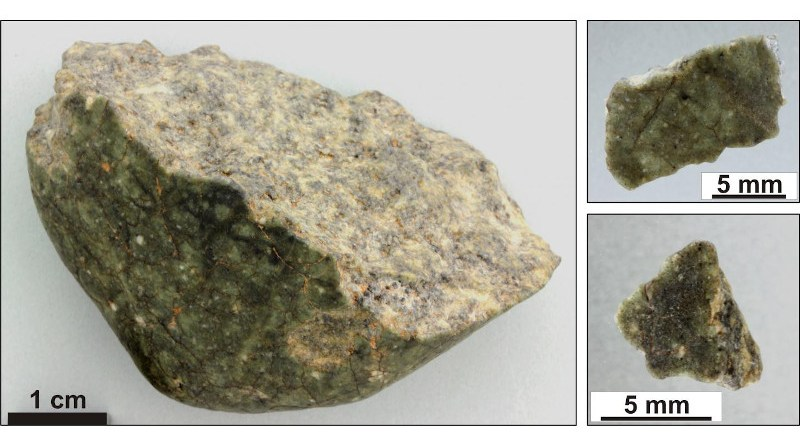 Fragments of the lunar meteorite Oued Awlitis 001 acquired by the NHM Vienna and used for the scientific analyses. The largest specimen is on display at the NHM Vienna. CREDIT: © NHM Vienna, Ludovic Ferrière