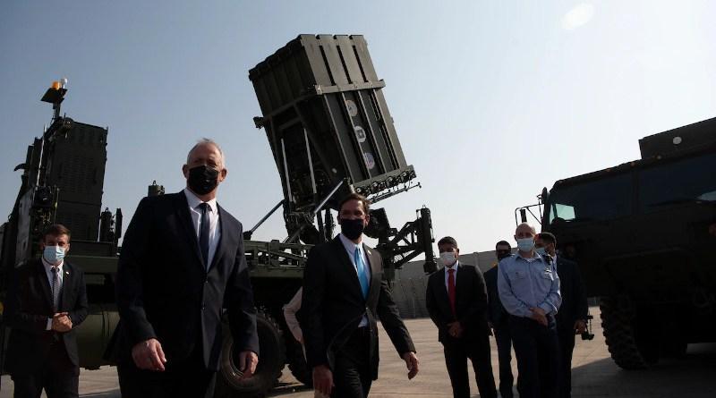 Defense Secretary Dr. Mark T. Esper tours the Iron Dome display with Israeli Defense Minister Benny Gantz in Tel Aviv, Israel, Oct. 29, 2020. Photo Credit: Lisa Ferdinando, DOD