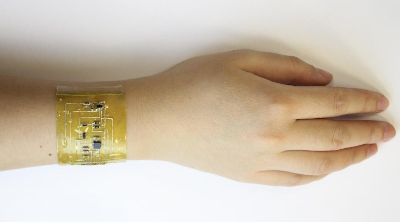 "A person wears an ""electronic skin"" device on the wrist. CREDIT: Chuanqian Shi"