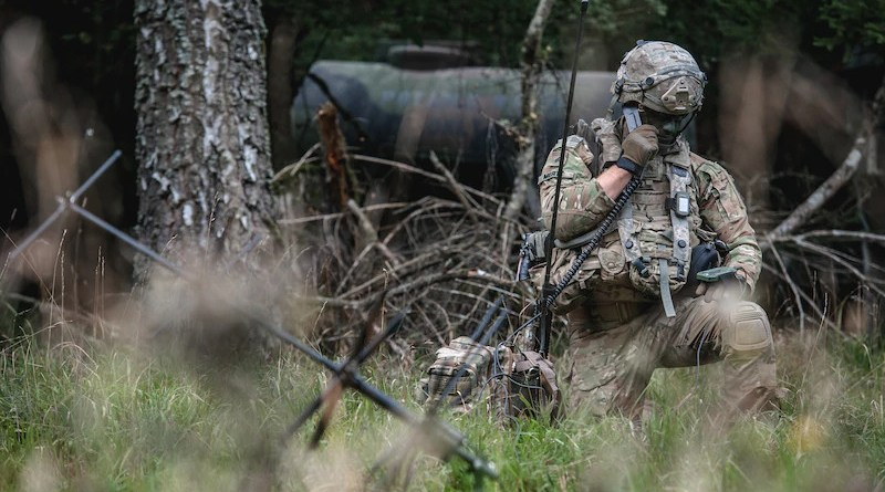 A soldier conducts a radio check with the tactical operations center during Exercise Saber Junction 2019 in Hohenfels Training Area, Germany, Sept. 22, 2019. Photo Credit: Army Sgt. Henry Villarama