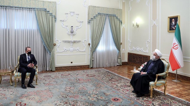 Foreign Minister of the Republic of Azerbaijani Jeyhun Bayramov with Iranian President Hassan Rouhani. Photo Credit: Tasnim News Agency