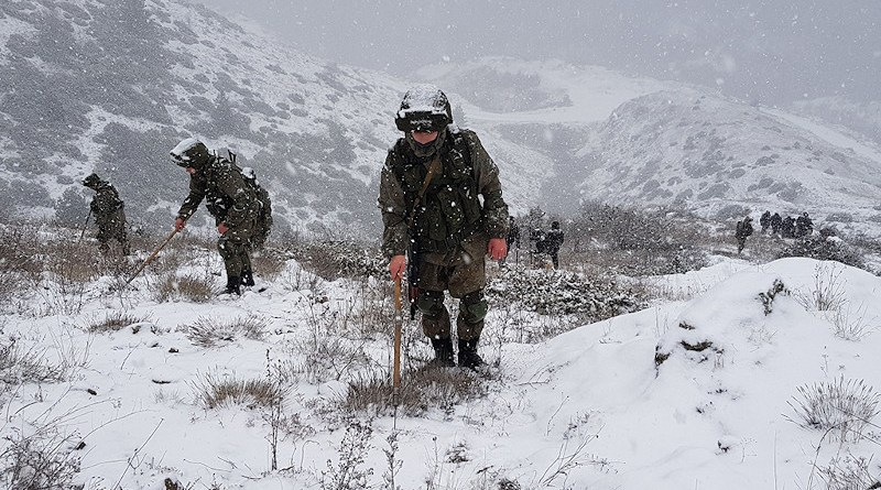 Russian peacekeepers search for unexploded ordinance in Nagorno-Karabakh (Russian military handout)
