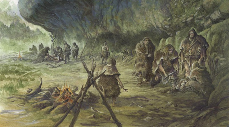 Reconstruction of the child's burial by Neandertals at La Ferrassie (Dordogne, France). CREDIT: © Emmanuel Roudier