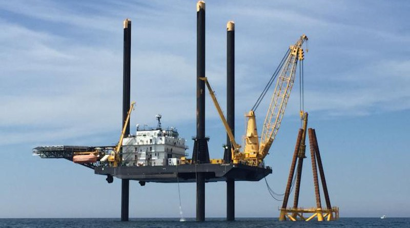 Construction of the Block Island Wind Farm off Rhode Island, the first offshore wind farm in the United States. It began commercial operations in December 2016. CREDIT NOAA Fisheries