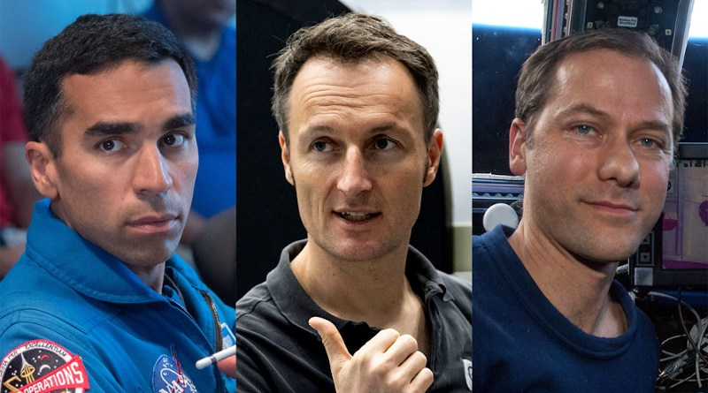 The members of the SpaceX Crew-3 mission to the International Space Station. Pictured from left are NASA astronauts Raja Chari and Tom Marshburn, and ESA (European Space Agency) astronaut Matthias Maurer. Credits: NASA/ESA