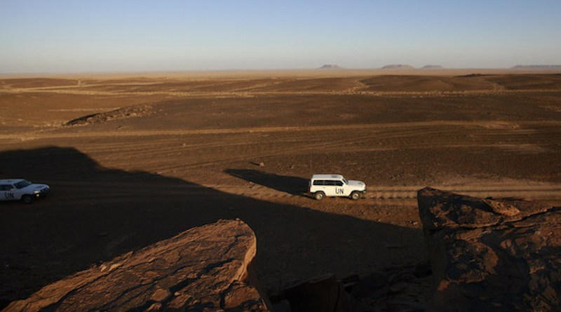 A UN patrol team, deployed for monitoring ceasefire, drives through the Smara area of Western Sahara. The Moroccan Government has reportedly launched an operation on the southern border of Western Sahara. UN Photo/Martine Perret