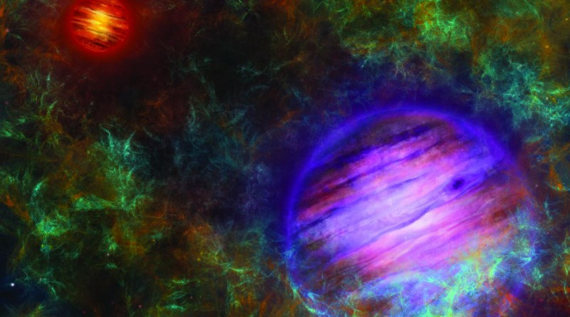Artist's composition of the two brown dwarfs, in the foreground Oph 98B in purple, in the background Oph 98A in red. Oph 98A is the more massive and therefore more luminous and hotter of the two. The two objects are surrounded by the molecular cloud in which they were formed. CREDIT © University of Bern, Illustration: Thibaut Roger