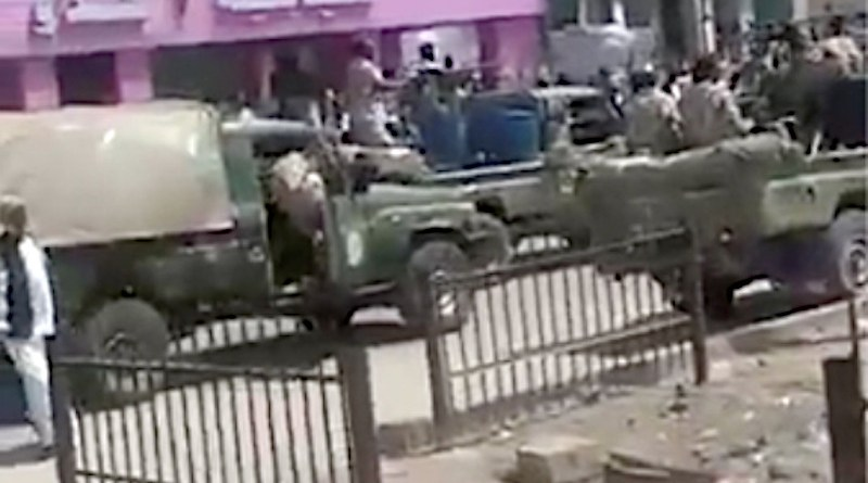Still image from a video obtained by Human Rights Watch shows three military vehicles, identified by witnesses as belonging to the RSF near Kassala Teaching Hospital, on October 15,2020. © Anonymous