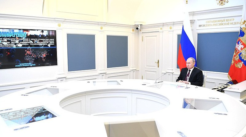 Russia's President Vladimir Putin at a meeting on the signing of a Memorandum of Intent between the Gamaleya National Centre of Epidemiology and Microbiology, AstraZeneca, RDIF and R-Pharm (held via videoconference). Photo Credit: Kremlin.ru