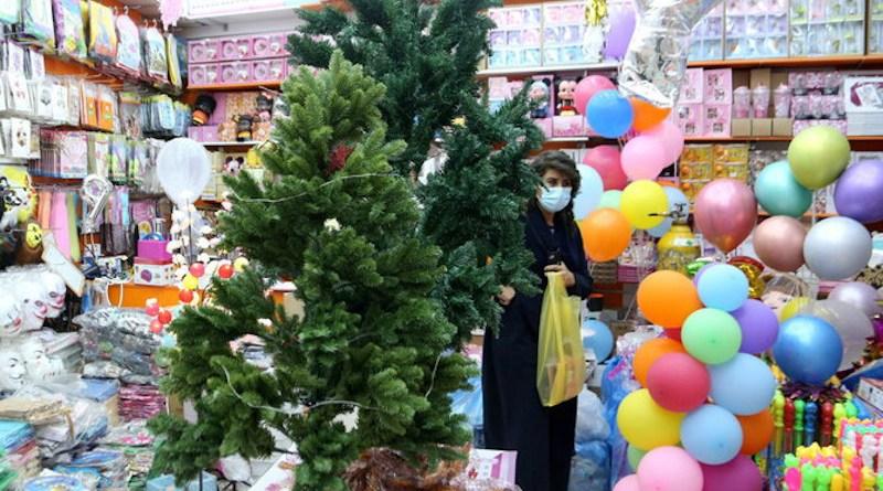 Christmas trees for sale in shop in Riyadh, Saudi Arabia. Photo Credit: Arab News