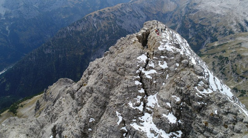 Across the summit of the 2592-metre-high Hochvogel in the Allgäu region of Germany, a dangerous crack is gaping and growing. The southern side of the mountain threatens to slide into the Austrian Hornbach Valley, releasing up to 260,000 cubic meters of limestone debris - corresponding to ~260 single-family houses. CREDIT TU München