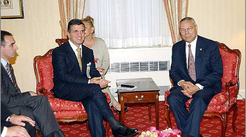Svetozar Marović and Collin Powell, United States Secretary of State in 2003. State Department Photo by Michael Gross