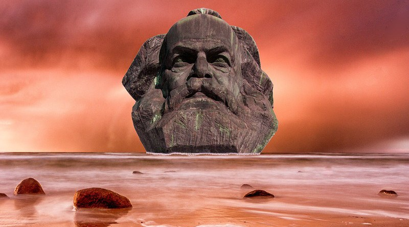 Karl Marx Sea Fantasy Composing Beach Landscape