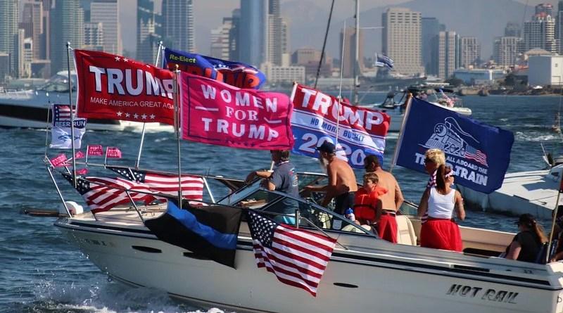 Boat Parade Flags Lake Ocean Trump