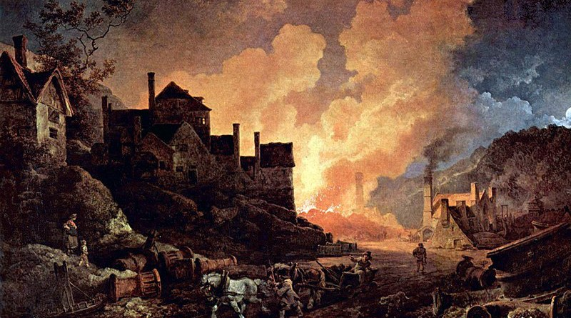 Madeley Wood Furnaces, painted by Philip James de Loutherbourg. Credit: Wikipedia Commons