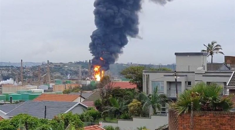 Explosion at Engen Oil Refinery in Durban, South Africa. Photo Credit: Tasnim News Agency