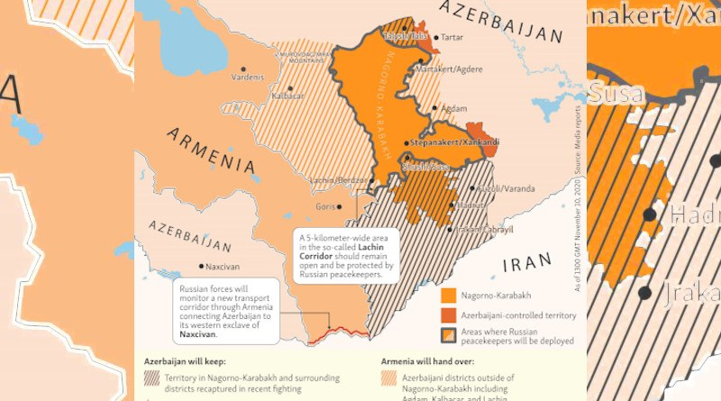 Armenia, Azerbaijan and areas of control in Nagorno-Karabakh. Photo Credit: RFE/RL (edited)