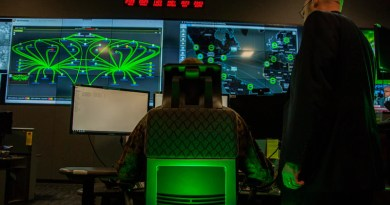 Marines with Marine Corps Forces Cyberspace Command observe computer operations at the cyber operations center at Fort Meade, Md., Feb. 5, 2020. Photo Credit: Marine Corps Staff Sgt. Jacob Osborne