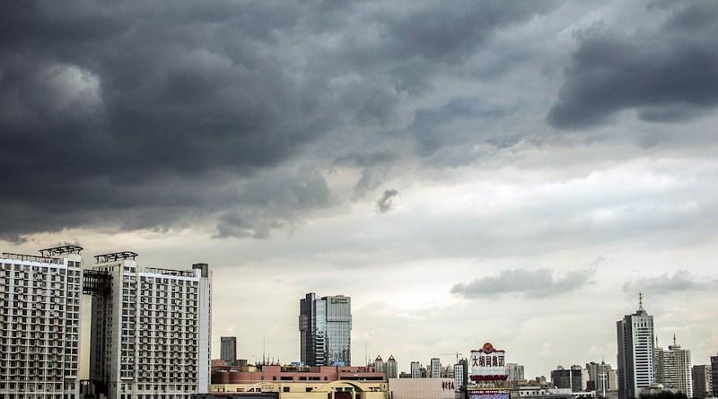 City China Tianjin Autumn Dark Clouds Before Rain