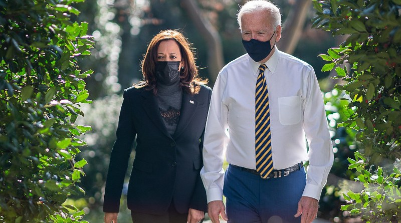 US President Joe Biden and Vice President Kamala Harris walk in White House grounds. Photo Credit: White House