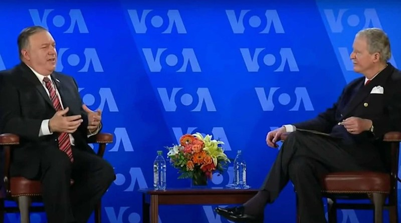 Secretary of State Michael Pompeo has a conversation with VOA Director Robert Reilly at the Voice of America headquarters in Washington, Jan. 11, 2021. Photo Credit: VOA
