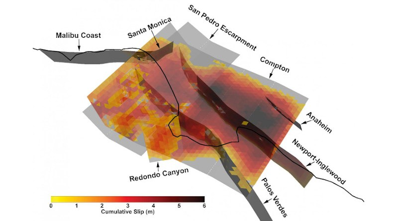 3D view of one especially complex multi-fault rupture from the synthetic earthquake catalog developed by the Southern California Earthquake Center using a new earthquake modeling framework. CREDIT Kevin Milner, University of Southern California