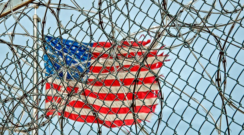 flag united states Prison Jail Detention Fence Wire Barbed Metal