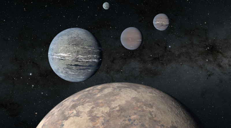 A five-planet system around TOI-1233 includes a super-Earth (foreground) that could help solve mysteries of planet formation. The four innermost planets were discovered by high schoolers Kartik Pinglé and Jasmine Wright alongside researcher Tansu Daylan. The fifth outermost planet pictured was recently discovered by a separate team of astronomers. Artist rendering. CREDIT NASA/JPL-Caltech