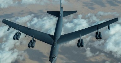 US Air Force B-52 Stratofortress after refuelling during a mission over the Middle East on Sunday. Photo Credit: U.S. Air Force photo by Senior Airman Aaron Larue Guerrisky