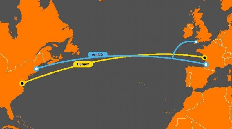 Routes of two submarine cables. Credit: Orange