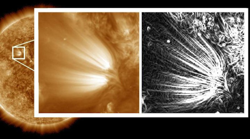 """Scientists used image processing on high-resolution images of the Sun to reveal distinct """"plumelets"""" within structures on the Sun called solar plumes. The full-disk Sun and the left side of the inset image were captured by NASA's Solar Dynamics Observatory in a wavelength of extreme ultraviolet light and processed to reduce noise. The right side of the inset has been further processed to enhance small features in the images, revealing the edges of the plumelets in clear detail. These plumelets could help scientists understand how and why disturbances in the solar wind form. CREDIT NASA/SDO/Uritsky, et al."""