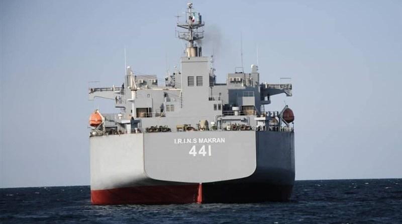 Iranian Navy's Makran warship. Photo Credit: Tasnim News Agency