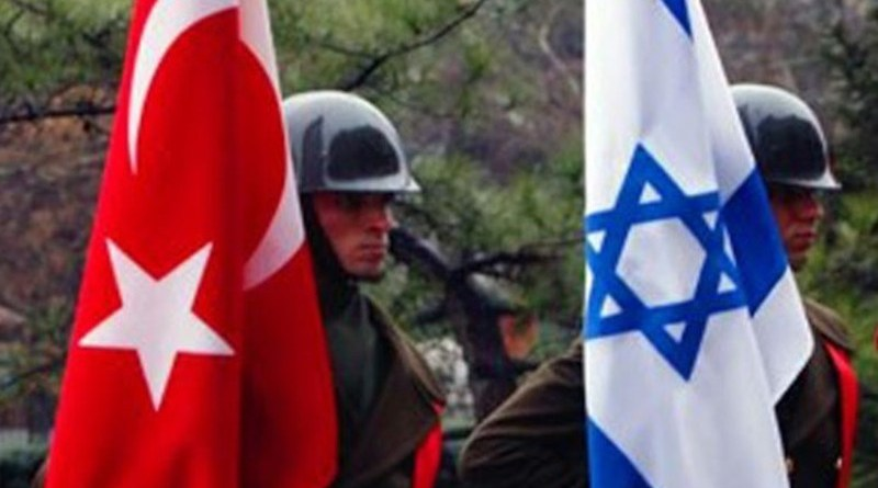 Soldiers hold flags of Turkey and Israel. Photo Credit: Tasnim News Agency
