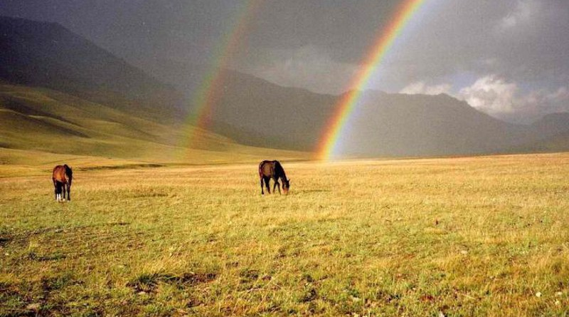 Double rainbow over ancient island arc assemblages discovered in the Tien Shan mountains CREDIT SPbU