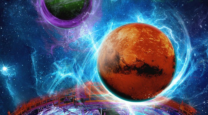 An artist's conception of the magnetic fields of selected super-Earths as the Z machine, pictured at bottom, mimics the gravitational conditions on other planets. Planetary magnetic fields deter cosmic rays from destroying planetary atmospheres, making life more likely to survive. CREDIT Artist image by Eric Lundin; Z firing photo by Randy Montoya
